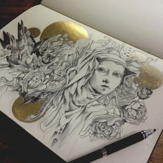 """Shrine"" - graphite and gold leaf in my moleskine. Having a lot of fun with gold leaf!"