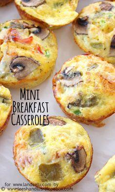 Mini Hashbrown, Bacon and Veggie Breakfast Casseroles Recipe | Landeelu