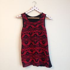 Embellished Aztec Print Tank Studded Aztec print tank top. Red and black. Flowy. Women's small. Minor run in fabric Express Tops Tank Tops