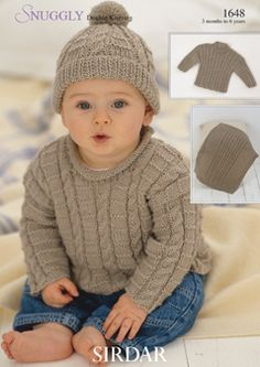boy knit cable sweater and hat
