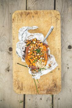sweet potato with brown rice, chives, crispy smoky chickpeas and almonds