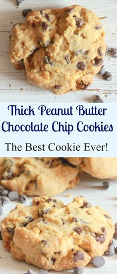 Thick Peanut Butter Chocolate Chip Cookies — so easy and I am sure the best you will every eat, nice and soft and full of chips, so good, I have to go make some more : anitalianinmykitchen Keks Dessert, Oreo Dessert, Cookie Desserts, Just Desserts, Cookie Recipes, Delicious Desserts, Dessert Recipes, Peanut Recipes, Best Cookies Ever