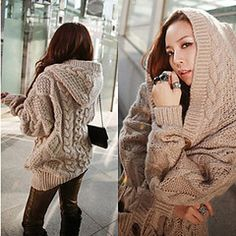Women's chunky cable knit sweater hoodie! whhhaaaaatttt?!?! where can i get one of these!?