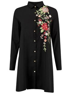 Floral Embroidered Long Sleeve A-Line Dress - BLACK S
