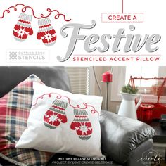Learn how to craft a DIY accent pillow using the Mittens Paint-A-Pillow kit from Cutting Edge Stencils. http://www.cuttingedgestencils.com/mittens-holiday-accent-pillows-diy-throw-pillow-kits.html