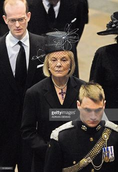 The Duchess of Kent leaves Westminster Abbey after the funeral service of the Queen Mother in London 09 April 2002. The funeral is the culmination of more than a week of mourning for the royal matriarch, who died March 30 at the age of 101. AFP PHOTO Adrian DENNIS