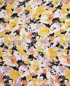 Tootal, Broadhurst, Lee & Co. 1930 England. Dress fabric of georgette screen-printed with a repeat of flowers, stems and leaves in yellow, white and mauve on a black background. *vintage leavers*