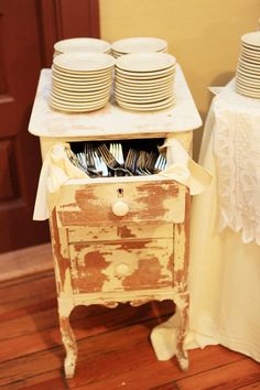 Shabby chic wedding idea. Put a vintage night stand by your dessert table with dessert plates and forks. Mismatched china would make it even better!