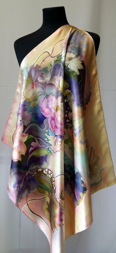 Silk Scarf The Lotus 27 / 27 silk image 3 How To Wash Silk, Textiles, Silk Art, Silk Shawl, Fabric Painting, Silk Scarves, Silk Chiffon, Hand Painted, Painted Silk