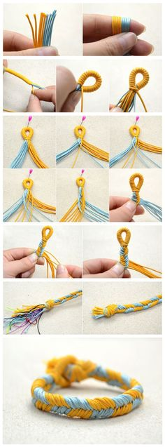 #Beebeecraft Pictured Demonstration on #Braiding a Two color #Fishtail #Friendship #Bracelet Pattern