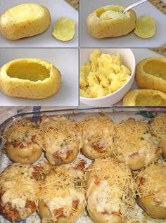 INGREDIENTES  4 batatas grandes 2 colheres de sopa de azeite 1 cebola pequena picada 400 g de carne moída Sal e pimenta do reino a gosto 1/2 xícara de chá de molho de tomate 1/2 lata de creme de leite sem soro 1 xícara de chá de mussarela ralada... Vegetarian Snacks, Healthy Breakfast Recipes, Appetizer Recipes, Snack Recipes, Good Food, Yummy Food, Salty Foods, Portuguese Recipes, Food Bowl