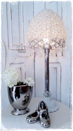 Tischlampe Lüsterlampe Metall Tropfen Franske Vintage Silber Weiß Tischleuchte Nicht zutreffend   eBay