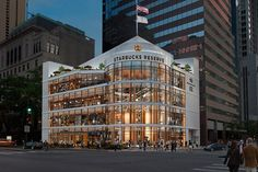 The Starbucks Reserve will open in Chicago this November on the Michigan Avenue. This will make Chicago the home of the largest Starbucks store. Starbucks Store, Starbucks Reserve, Starbucks Coffee, Kengo Kuma, Fukuoka, Bangkok, Chicago Coffee Shops, Chicago Magnificent Mile, Arquitetura