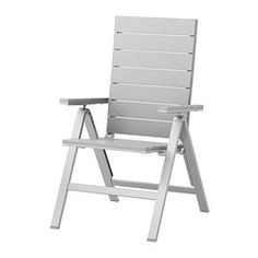 IKEA - FALSTER, Reclining chair, outdoor, foldable gray,  , , Easy to fold up and put away.Polystyrene slats are weather-resistant and easy to care for.You can make your chair more comfortable and personal by adding a chair pad in a style you like.Polystyrene slats are weather-resistant and easy to care for.The furniture is both sturdy and lightweight as the frame is made of rustproof aluminum.