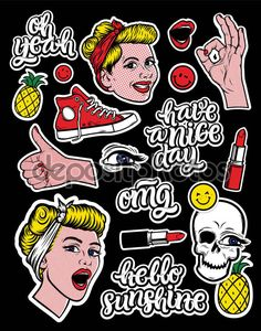 Download - Fashion patch badges — Stock Illustration #130161574