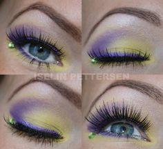 A single green crystal accents pretty yellow and purple eye shadow by Iselin Pettersen. Purple Eyeshadow, Blue Eye Makeup, Face Rhinestones, Beauty Makeup, Hair Makeup, Makeup Designs, Pretty Eyes, Eye Make Up, Makeup Inspiration