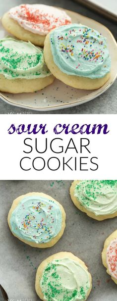 These Sour Cream Sugar Cookies are soft and fluffy with just the right amount of sweetness — they're perfect with or without frosting and make a great freezer-friendly holiday cookie! #sugarcookies #baking #dessert #dessertrecipe #cookierecipe | baking | desserts | dessert