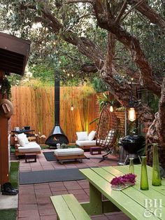 One couple turned their California backyard into an enviable oasis. Complete with an outdoor theater, more than 100 plants, and the ultimate patio-lounge area, this yard is perfect for entertaining family and friends on all occasions. - My Garden Sun Backyard Seating, Backyard Patio Designs, Small Backyard Landscaping, Landscaping Ideas, Narrow Backyard Ideas, Small Backyard Design, Small Backyard Gardens, Ideas For Small Backyard, Back Yard Patio Ideas