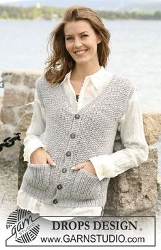 """Daphne - English rib DROPS waistcoat in """"Alaska"""" with wide shoulders and pockets. Size: S to XXXL - Free pattern by DROPS Design Knitting Designs, Knitting Patterns Free, Free Knitting, Free Pattern, Crochet Patterns, Drops Design, Knit Vest Pattern, Sweaters For Women, Alaska"""
