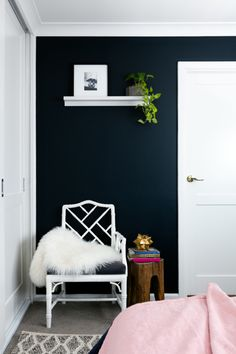 Room reveal: our master bedroom, take two! - The Interiors Addict Navy Master Bedroom, Navy Bedrooms, Master Room, Glass Wardrobe, Wardrobe Doors, Guest Room Paint, Navy Walls, King Size Pillows, Big Windows