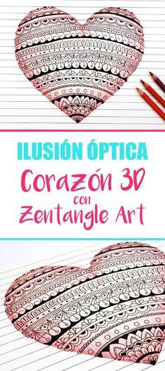 Como hacer un corazón con Zentangle Art y mandalas en 3D