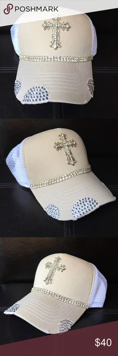 Beige Bling Trucker Hat Handmade bling beige trucker hat. Rhinestone cross and trim. White mesh backing. Perfect for any occasion! Tracy Caliendo Designs Accessories Hats