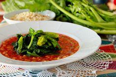 "tomato soup with turnip greens and sardinian ""fregula"""