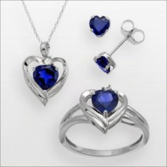 KOHL'S This one is a jewelry set in sterling silver adorned with blue and white sapphires and comprises of a heart shaped pendant, ear studs and a ring. This can be a complete set of jewelry that you can pair with a blue or black outfit. It will cost you a sum of $78.75.