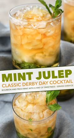 Perfect for Derby Day or any other warm day, this cool and refreshing mint julep recipe is made with crushed ice, Kentucky bourbon and fresh mint! Fruit Drinks, Healthy Drinks, Alcoholic Beverages, Southern Mint Julep Recipe, Party Punch Recipes, Bourbon Cocktails, Cooking Recipes, Drink Recipes, Fresh Mint