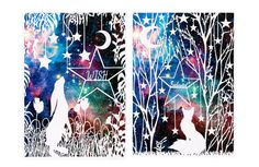 Set of 2 Animal Papercut Art Prints - Personalised with your word of choice. #etsy #Paper  #AnimalPapercut  #ArtPrints  #PersonalisedArt  #SpecialOffer  #MoonGazing #Hare #FoxinForest  #QuoteArt  #GalaxyArtPrint  #Illustration  #NurseryArt #ChristmasGifts  #NatureArt  #AnimalWallArt