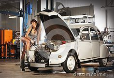 Sexy Girl with citroen 2cv repair car