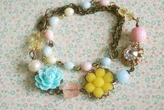 Charmed. vintage assemblage,rosary beaded,wrap bracelet. Tiedupmemories