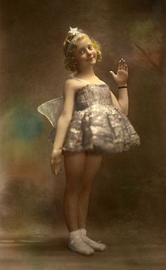 A little hand-tinted fairy.  Look at the beautiful little costume her mother probably made for her.  No cosume shops in those days.