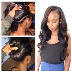 Sew In Hairstyles 7 sew in hairstyles for black women xcsunnyhair Blowout Straighten Styled Noweave Ombre Natural Hairstyles Pinterest Ombre