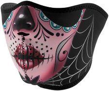 Zan Headgear Womens Reversible Neoprene Half Face Mask Sugar Skull