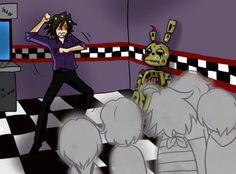 4 from the story Purple guy x Reader (FNAF x reader) by with reads. You look at Vincent, blinkin. Five Nights At Freddy's, Good Horror Games, Rpg Horror Games, Freddy S, Fnaf X Reader, Animatronic Fnaf, Pole Bear, William Afton, Fnaf Characters