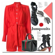 """Jumpsuits"" by ilona-828 ❤ liked on Polyvore featuring Philosophy di Lorenzo Serafini, Isabel Marant, Gucci, Bulgari, StreetStyle, jumpsuits and polyvoreeditorial"