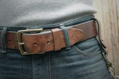 "The Mountain Belt in Dark Brown. 1/75"" Heavy Duty Leather Belt. - Just received mine. Holy Shitballs is it awesome!"