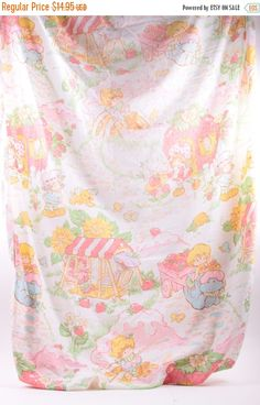 Strawberry Shortcake Vintage Fitted Sheet Twin Cotton  The Pink Room  160905 by ThePinkRoom