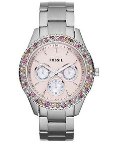 Fossil Watch, Women's Chronograph Stella Stainless Steel Bracelet 37mm ES3050 - Fossil - Jewelry & Watches - Macy's