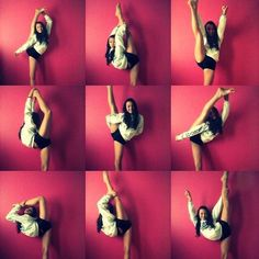 Bow and Arrow - Needle - Heel Stretch - Scorpion - Scale -- All at different flexibility capabilities Cheer Moves, Cheer Stretches, Dance Stretches, Cheer Workouts, Cheer Stunts, Cheer Dance, Cheerleading Workouts, Needle Stretches, Stretching