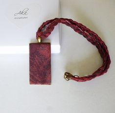 Handmade necklace and with painted leather in color tons, fixed on a rectangle bronze base with braided soft leather strap. Unique jewelry from genuine made with care and love. Leather Necklace, Leather Jewelry, Perfect Gift For Her, Gifts For Her, Leather Photo Albums, Unique Gifts For Women, Painting Leather, Leather Gifts, Small Shops
