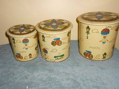 Action Set of 3 Tin Canisters Air Balloon