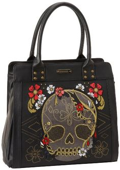 Loungefly Gold & Red Floral Skull Tote Multi Colored Handbag