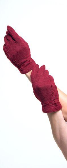Dark Red Wrist Length Wool Blend Gloves #uniquevintage