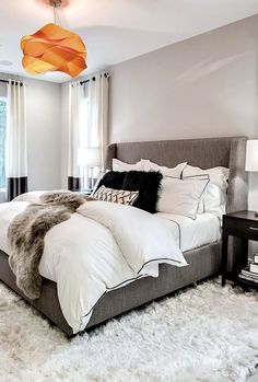 cover bottom of the bed in the same fabric as the headboard. cozy neutral grey bedroom with orange light - Philadelphia Magazine's Design Home 2016 Gray Bedroom, Master Bedroom Design, Home Bedroom, Winter Bedroom, Bedroom Designs, Modern Bedroom, Bedroom Furniture, Master Bedrooms, Bedroom Carpet