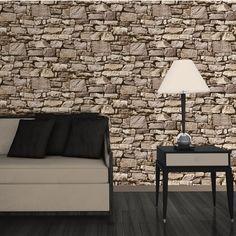 poster mural trompe l'oeil simili mur en pierre sèche dans le salon moderne