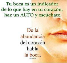 ... Tu boca es un indicador de lo que hay en tu corazón, haz un alto y escúchate. De la abundancia del corazón habla la boca.