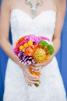 Bright and bold bouquet: http://www.stylemepretty.com/california-weddings/2015/01/23/colorful-santa-monica-pier-wedding-inspiration/ | Photography: Sorella Muse Photography - www.sorella-muse.com/
