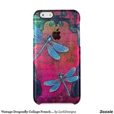 Vintage Dragonfly Collage French Script Decorative Clear iPhone 6/6S Case